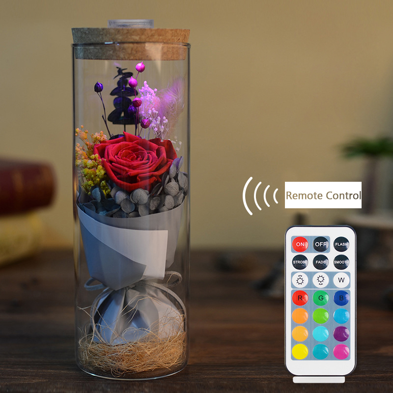 Glowing Preserved Red Rose Glass with Remote Control Valentines Gifts #265653 gift for boyfriend on anniversary