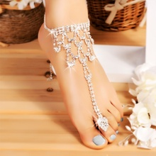 ffc207d72204c9 Foot Anklet Bridal Accessories Women Fashion Pendant Tassel Sexy Rhinestone  Crystal Anklet Beach Foot Toe Jewelry