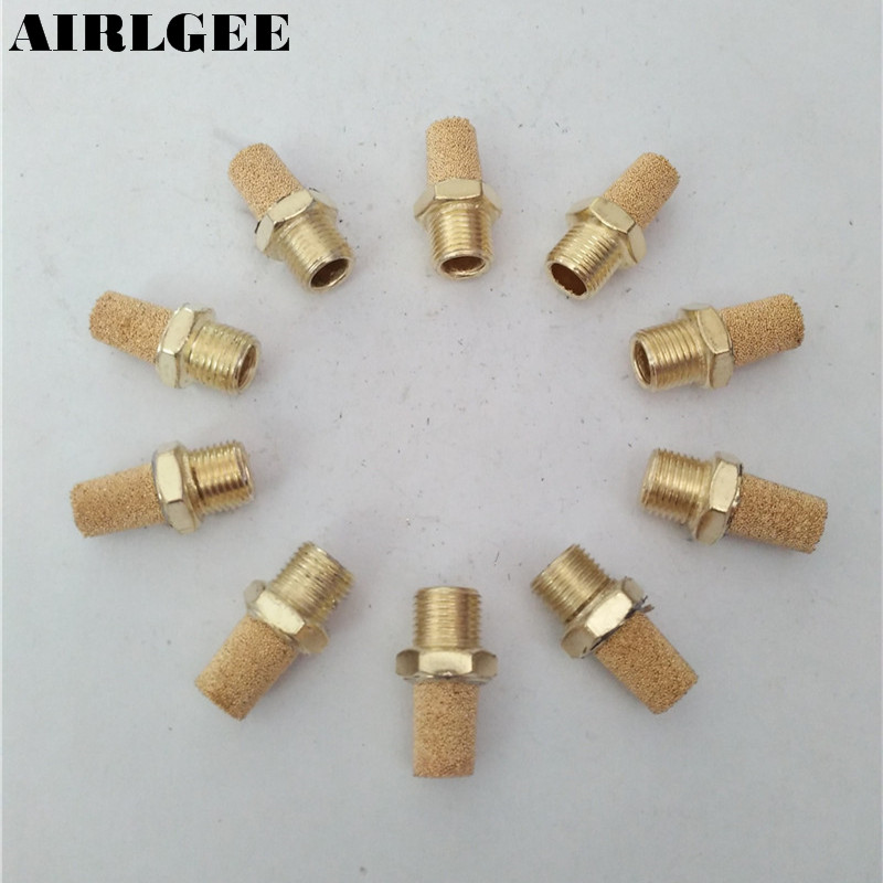 10 PCS Air Pneumatic 1/8PT Thread Reduce Noise Exhaust Silencer Pneumatic Muffler tube size 14mm 1 4 pt thread pneumatic