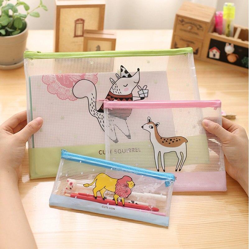 Transparent Squirrel Lion Deer Bear Anime Cute Kawaii Pencil Case Stationery Store Pen Bag Pouch Purse School Holder File Large алиэкспресс сумка прозрачная