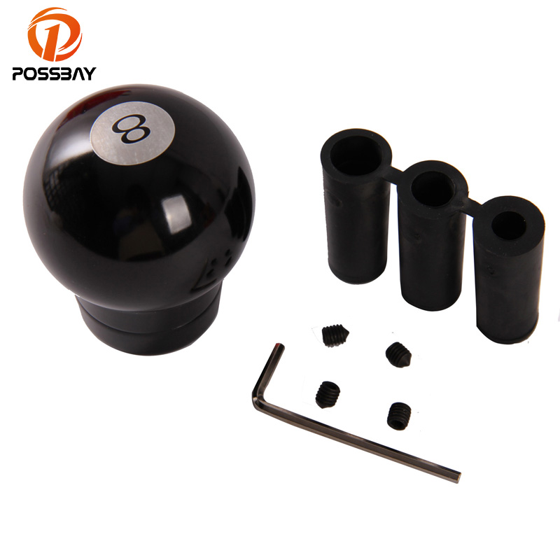 POSSBAY Aluminum No 8 Ball Type Shift Knob 5/6 Speed Black Fit Golf BMW Ford Audi Opel Chevrolet Universal Gear Knobs