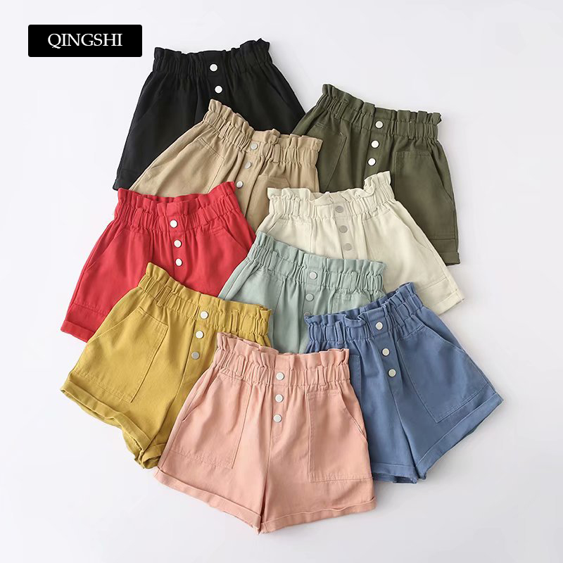 9 Colors Womens Summer   Shorts   High Waist Wide Leg   Shorts   feminino Korean Fashion Basic Biker   Shorts   with Pocket Streetwear 2019