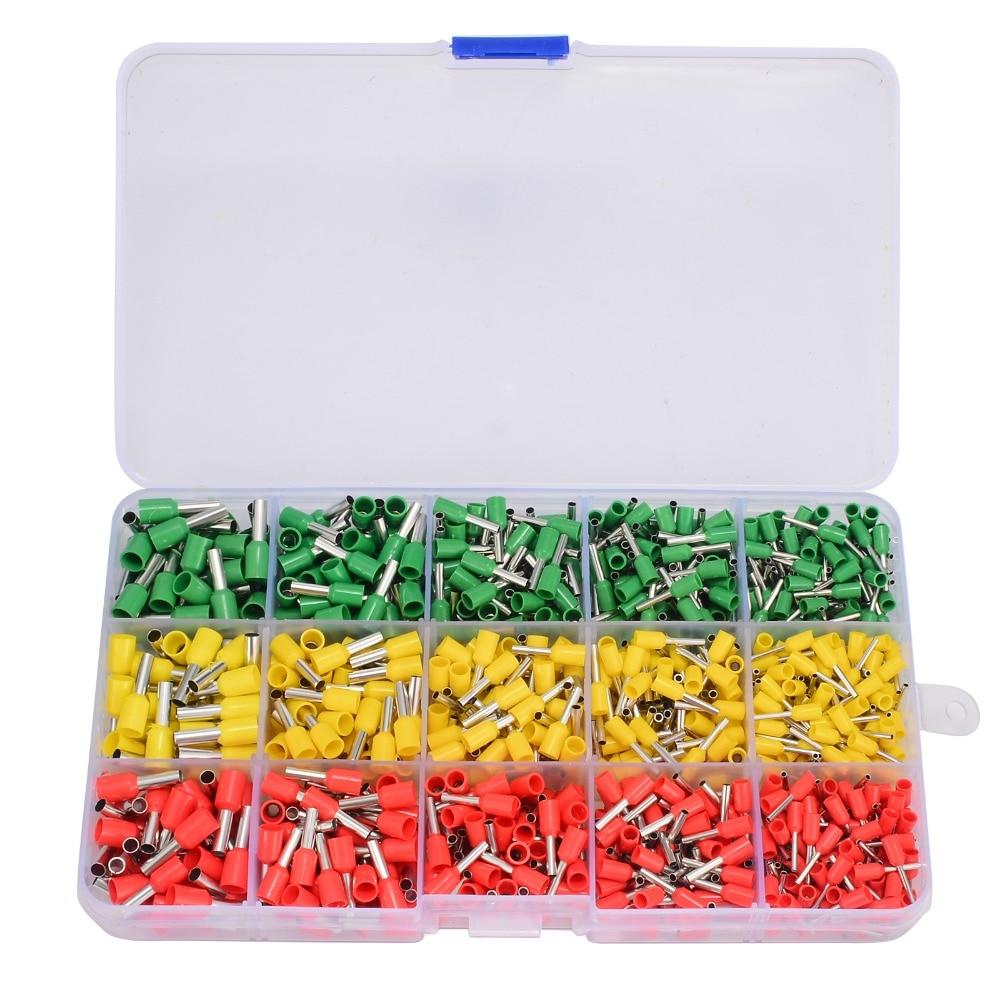 цена на 1pc Ferrule Crimper Plier + 990pcs Brass Crimp Terminal Wire Cable Connectors with Plastic Box For Crimping Tool
