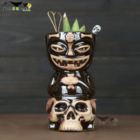 Creative Hawaii Mugs Skull Doll Tiki Mug Cocktail Cup Beer Wine Mug Ceramic Tiki Mugs Art