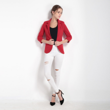 Women 7 Colors Slim Fit Blazer Open Front