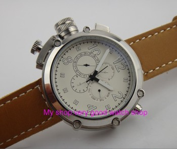 Left-handed model 50mm PARNIS white dial Automatic Self-Wind movement men's watch Multi-function Mechanical watches 252