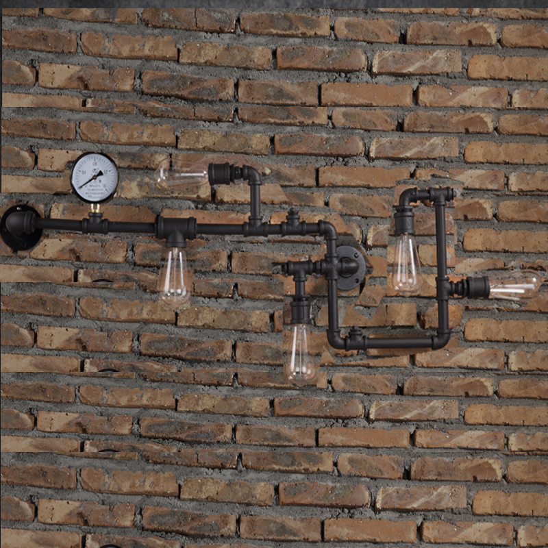 New Industrial Steampunk Wall Lamp Retro Light Rustic Vintage Loft Pipe Wall Sconces With E27 Edison Bulbs Aisle Lighting WL198 wall sconces double heads light umbrella shape wall lights retro industrial e27 edison lighting iron craft decorative wall lamp