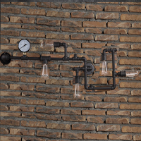 New Industrial Steampunk Wall Lamp Retro Light Rustic Vintage Loft Pipe Wall Sconces With E27 Edison Bulbs Aisle Lighting WL198