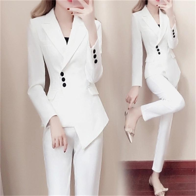 Fashion Suit Female Spring New Women's Fashion Slim White Small Suit Suit Temperament Summer Fashion Two-piece