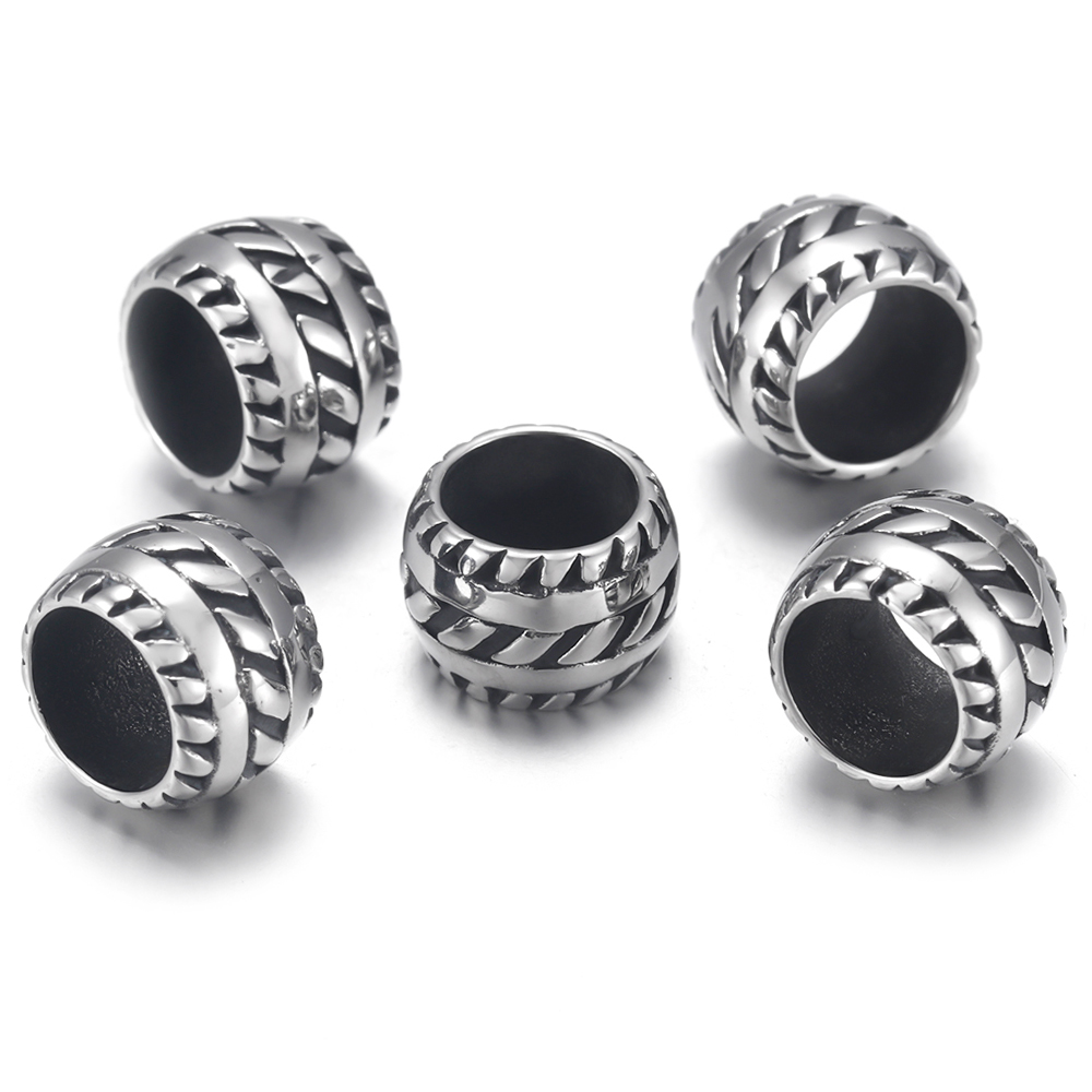 4pcs Stainless Steel Tyre Bead Charms 8mm Large Hole for Jewelry Bracelet Making Accessories Metal Beads DIY Supplies Parts in Beads from Jewelry Accessories
