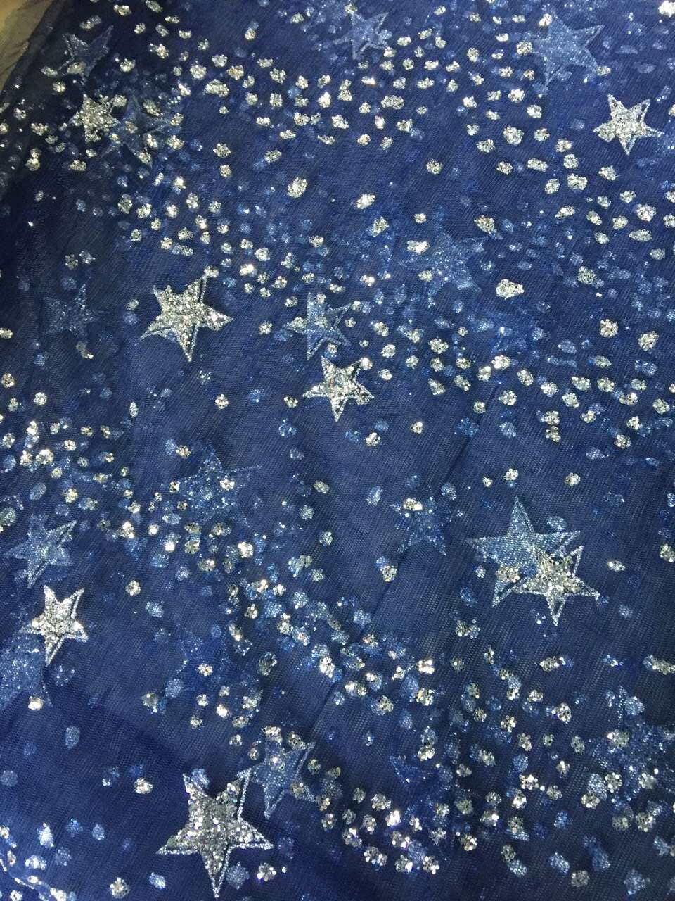 African French net lace fabric CiCi 62153 with glitter embroidery net lace fabric with star pattern