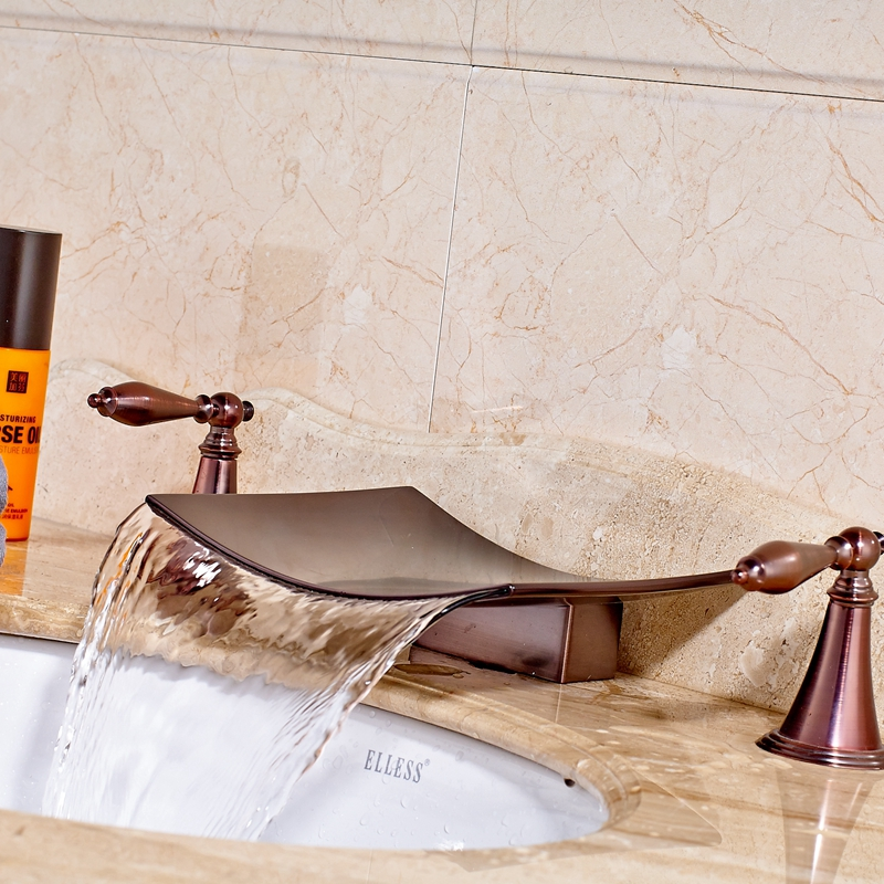 Luxury Solid Brass Oil Rubbed Bronze Red Sink Basin Faucet Mixer Sanitary Tap Dual Handles
