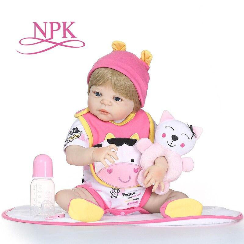 NPK Poupée 19 pouces 46 cm Reborn Baby Dolls plein Silicone Reborn Bebe Poupée Vinyle Jouets cadeaux mignon plamates Pour filles et garçons bonecas