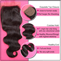 7a Brazilian Body Wave Silk Base Closure 4x4 Virgin Human Hair Free Middle Part Body Wave Silk Closure With Baby Hair Stock