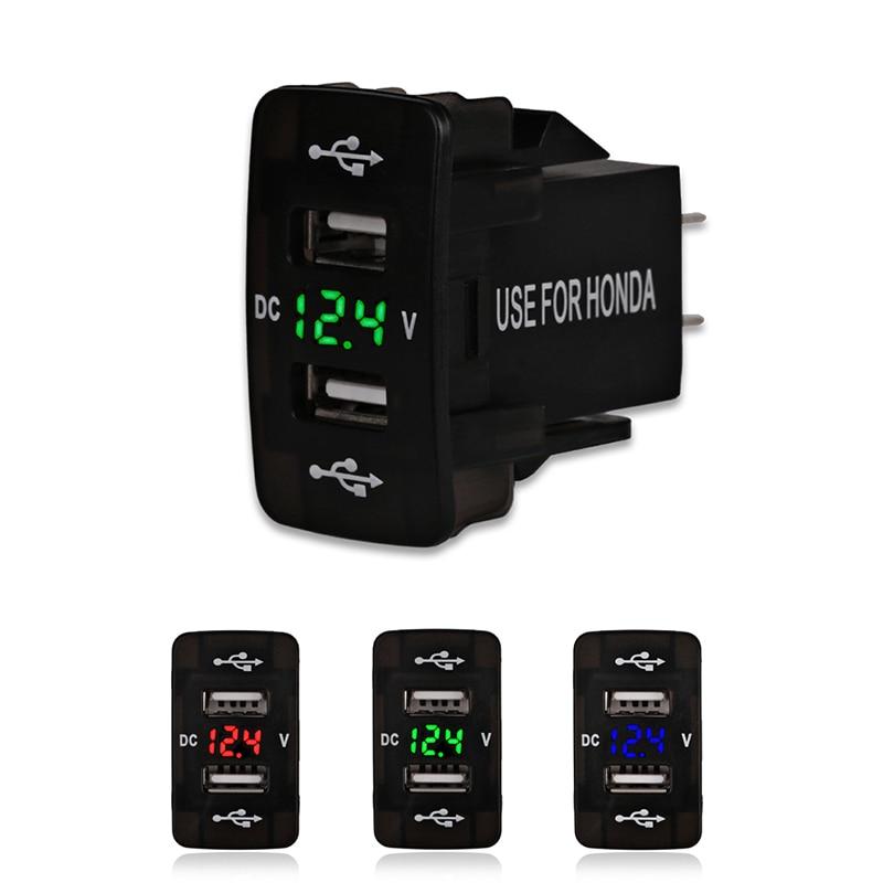 12V 24V 4.2A Dual Usb Car Charger For Honda 2 USB Port Auto Adapter LED Voltmeter Socket For Honda CIVIC CROSSTOUR CRV ODYSSEY