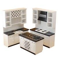 Wooden Dollhouse miniature furniture diy white kitchen 3 sets 1/12 scale