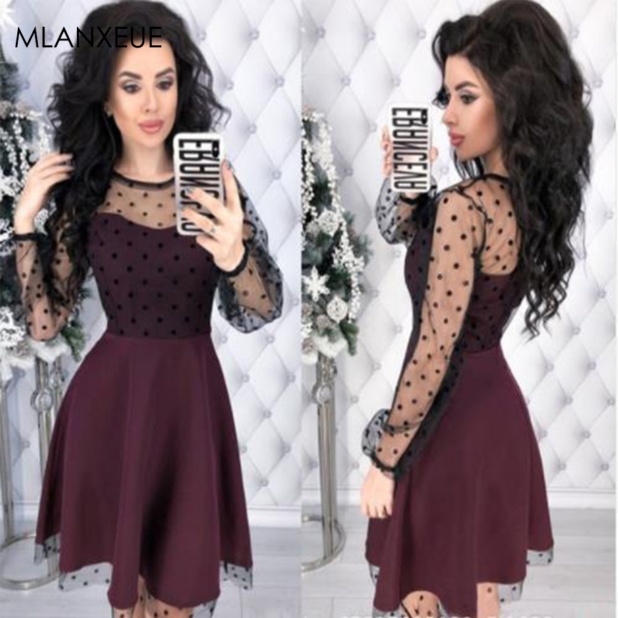 Fashion Patchwork Dot Lace <font><b>Dress</b></font> Women <font><b>Vintage</b></font> O-Neck Plus Size Party <font><b>Dresses</b></font> Female Chic Slim Autumn Long Sleeves A-Line <font><b>Dress</b></font> image