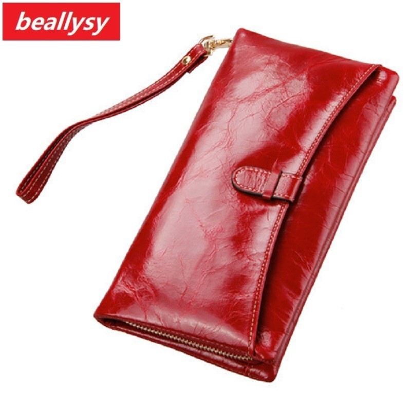 Famous Brands Oil Wax Leather Clutch Bag Women Long Wallets Ladies Coin Purse Wallet Female Card Phone Holders Carteira Feminina long women wallets pu leather large capacity card holders ladies zipper clutch wallets print pineapple purse carteira feminina