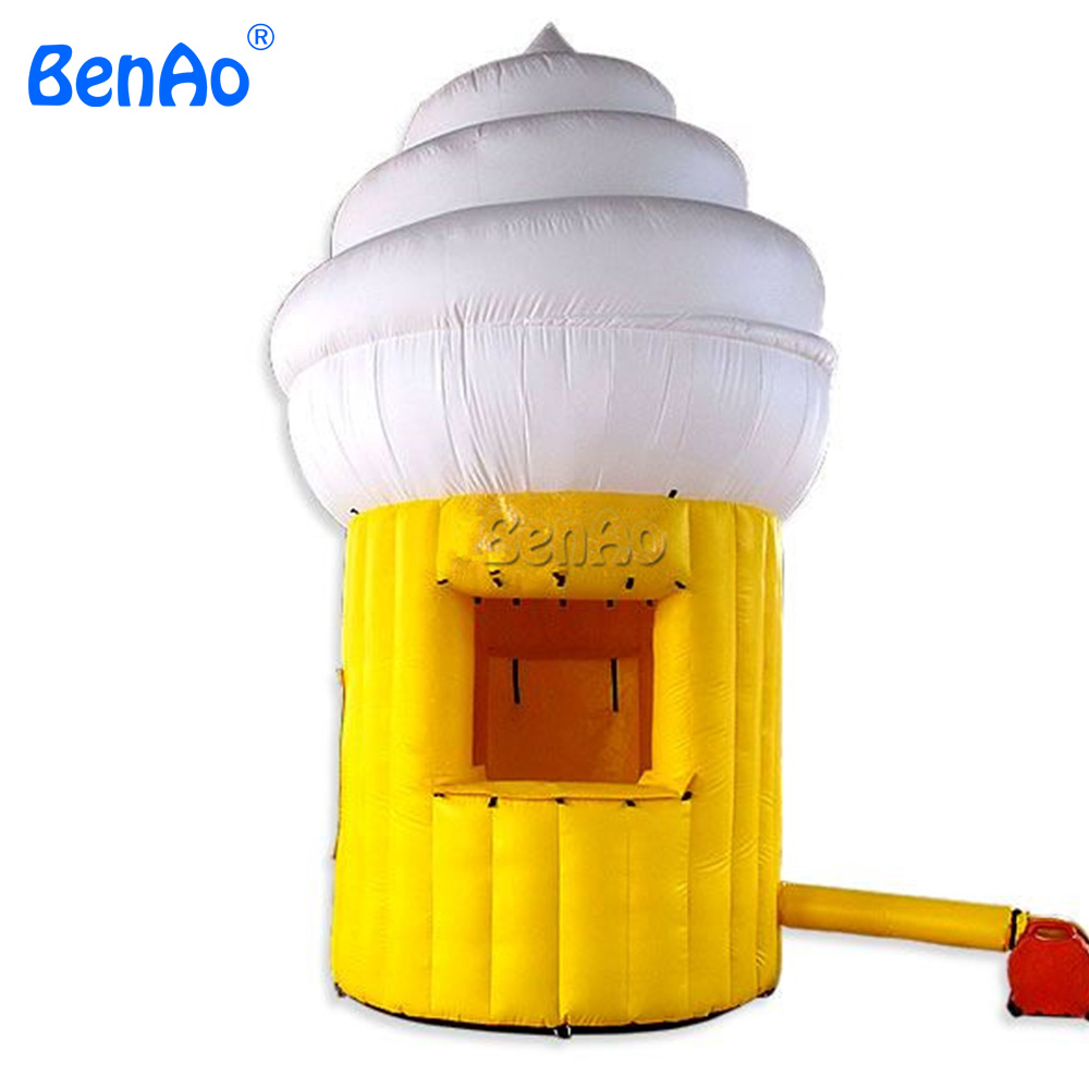 цены  AC337 Free shipping+blower  Customized inflatable ice cream tent booth,Yellow advertising tent,infaltable advertisiong tent