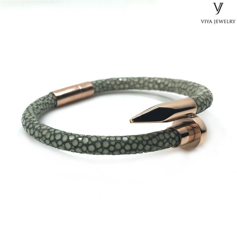 smoky grey stingray bracelet men nail bracelet (1)