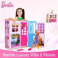 Натуральная Барби 2 этажный дом с мебельная фурнитура дом мечты набор игрушек для девочек Барби Рождество подарки DVV49