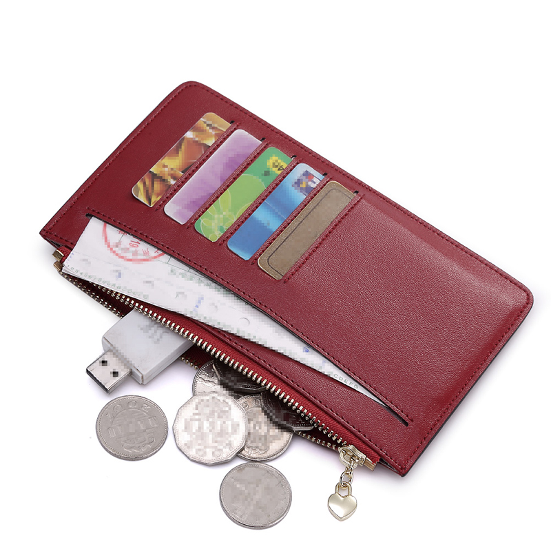 ФОТО teemzone  Women Multifunction Genuine Leather Handbag Clamshell Credit Card Holder Cash Receipt Holder ID Window Hasp Purse Q487