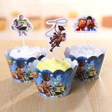 Frete Grátis 12 Sets New Toy Story Cupcake Wrapper Envoltório Do Queque E Chapéus de Coco Crianças Festa De Aniversário Decoração Suprimentos