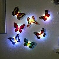 IVYSHION de alta calidad LED luz de noche colorida mariposa hermosa casa dormitorio decorativo pared luces de noche Color al azar 1 pc