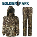 Men Spring Winter Bionic Camouflage Uniform Outdoor Hunting Army Military Waterproof Hooded Suit Fleece Tactical Outfit Clothing
