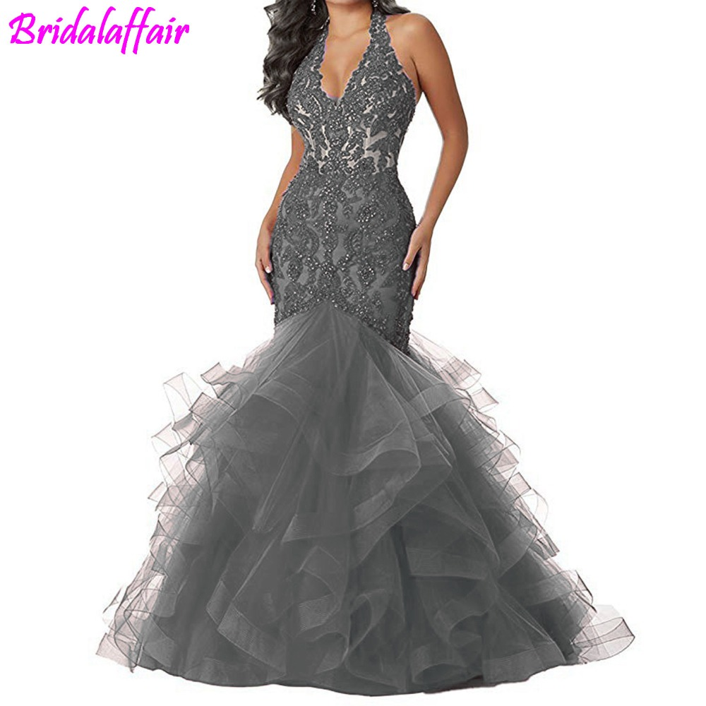 Beaded Lace Prom   Dresses   Long Mermaid Party Gown Formal   Evening     Dress   Ball Gowns 2019 V Neck Prom Long   Dresses