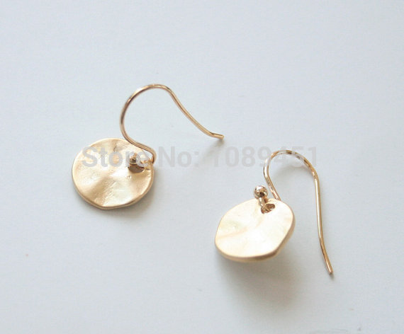 Whole Textured Gold Silver Disc Earrings Everyday Simple Tiny Jewelry Studs Fashion For S Women