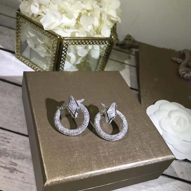 Nouveau Design femmes Style 925 boucles d'oreilles en argent Sterling sertie de strass anneau boucles d'oreilles bijoux de mariage