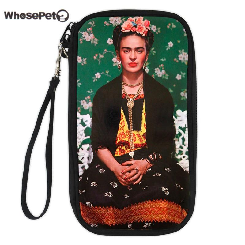 WHOSEPET Femmes Titulaire de la Carte Frida Kahlo Impression Durable Poche De Sac De Pochette Titulaire de la Carte D'affaires Organisateur Voyage Couverture Du Passeport