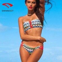 SWIMMART bikini Brazilian thong print sexy double-sided swimsuit swimwear women bandeau push up swim suit bathing
