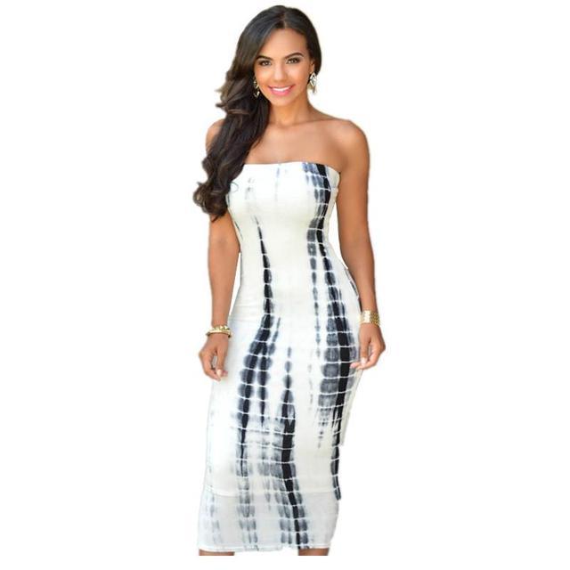 1b1b823d772 Plus Size New Rushed Robe Sale 2016 Summer Strapless Tie Dye Tube Midi Dress  Vestido Sexy