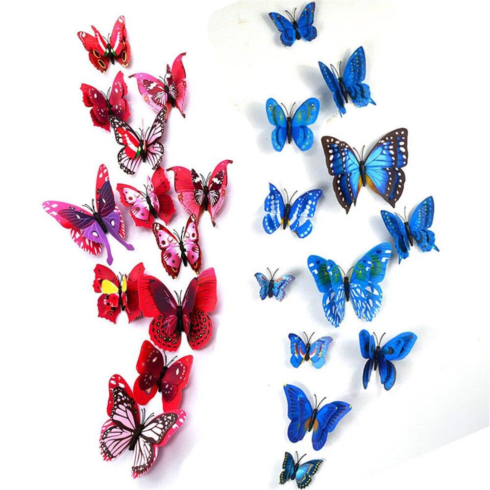 12 шт. милые 3D ПВХ магнит бабочками DIY Wall Стикеры Домашний декор плакат для детей номеров T украшения стены Лидер продаж