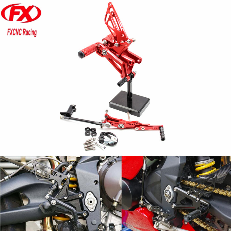 FX CNC Aluminum Motorcycle Rear Set Rearset Foot Pegs Dirt Bike Footrest Pedals For TRIUMPH DAYTONA 675R 2006 - 2010 2011 2012