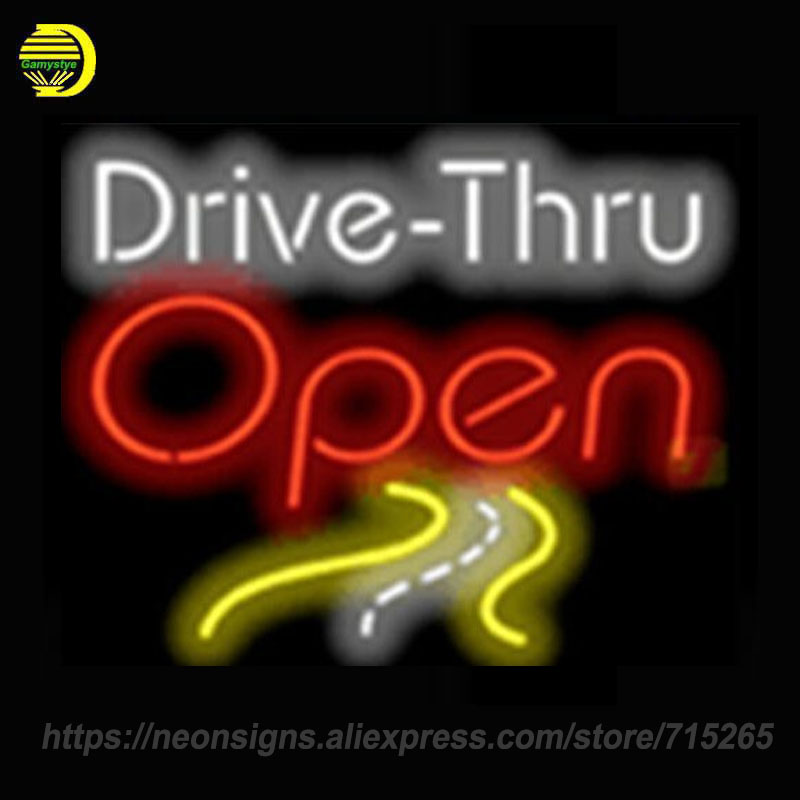 Neon Signs For Drive thru Open Neon Bulbs Sign Handcraft Decorate Room Night Light BEER BAR Pub Display Warranty Sign Free Desig