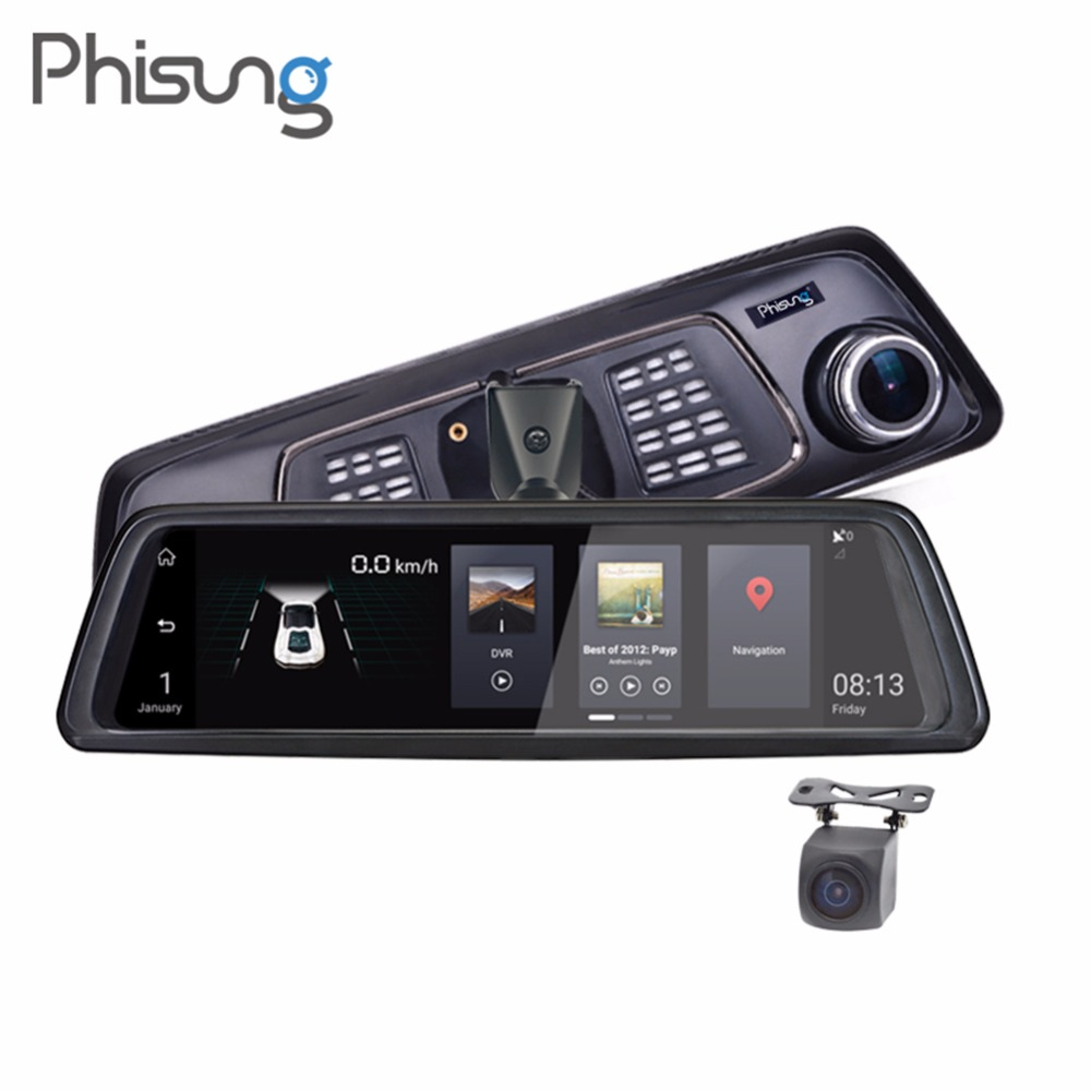 Phisung V9 4g Voiture DVR 10in Tactile FHD 1080 p Rétroviseur Caméra Night Vision Android GPS Double objectif Dash Cam