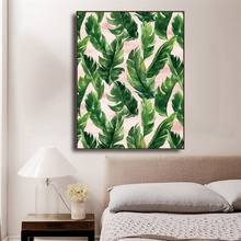Laeacco Canvas Calligraphy Painting Wall Artwork Palm Tree Green Leaves Posters and Prints Pictures Living Room Home Decoration
