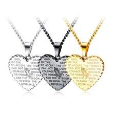 Punk Men Necklace Choker Retro Stainless Steel Necklaces Chain Heart Shape Scripture Pendant Bijoux Jewelry Hip Hop Boys Collier