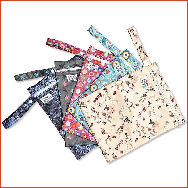 20Pcs/lot Baby Waterproof Zipper Infant Diaper Bags Diapers Barrel Stuff Bags Baby Nappies Tote Bag Wet Bag Wholesale
