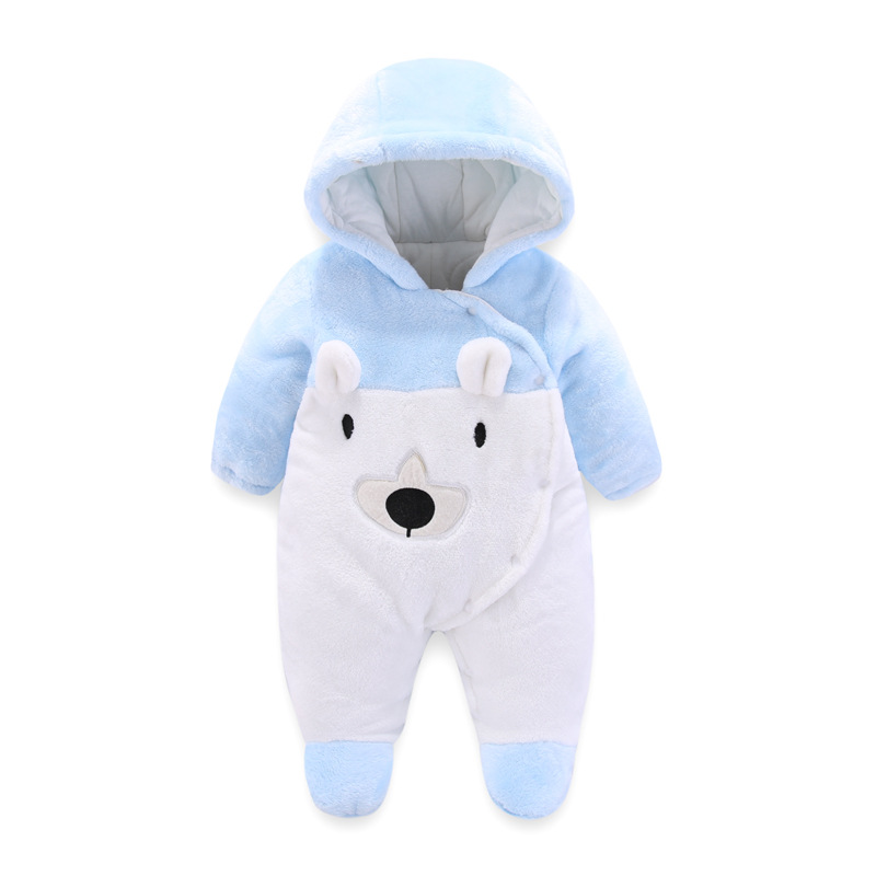 Newborn Baby Clothes Bear kid Boy Hooded Thick Jumpsuit Winter Overalls Bodysuit