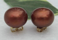 Real HUGE 12mm Chocolate Color South Sea Pearl Gold Stud Earrings Women Girls Jewelry Free Shipping