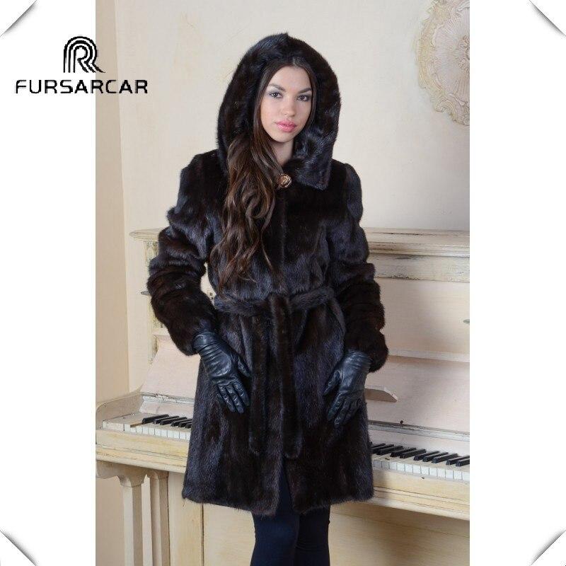 FURSARCAR mujeres abrigo Real de piel de visón auténtico abrigo de pieles de invierno con capucha 2018 de la moda nuevo lujo Mink chaqueta de piel larga negro de piel de visón