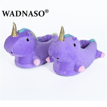Unicorn Warm Slippers Women Funny Pantufa Unicornio Chausson Licorne Home Shoes Female Plush Fur Mules Cute Cartoon White Purple