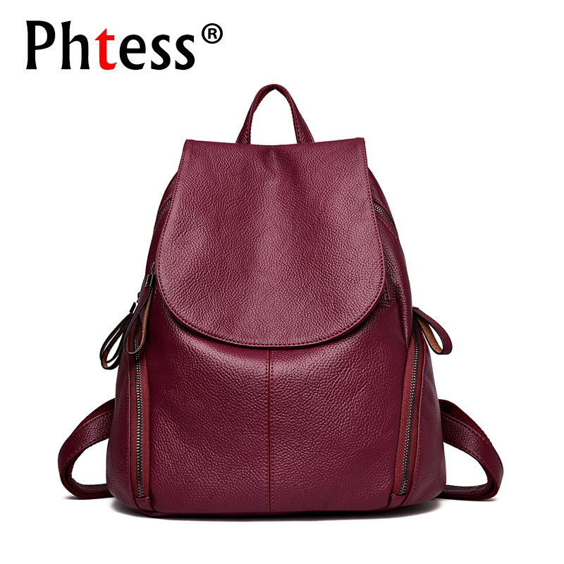 купить 2018 Brand Vintage Women Leather Backpack For Girls Sac a Dos Preppy School Female Backpack Large Capacity Travel Bagpack New по цене 1623.78 рублей