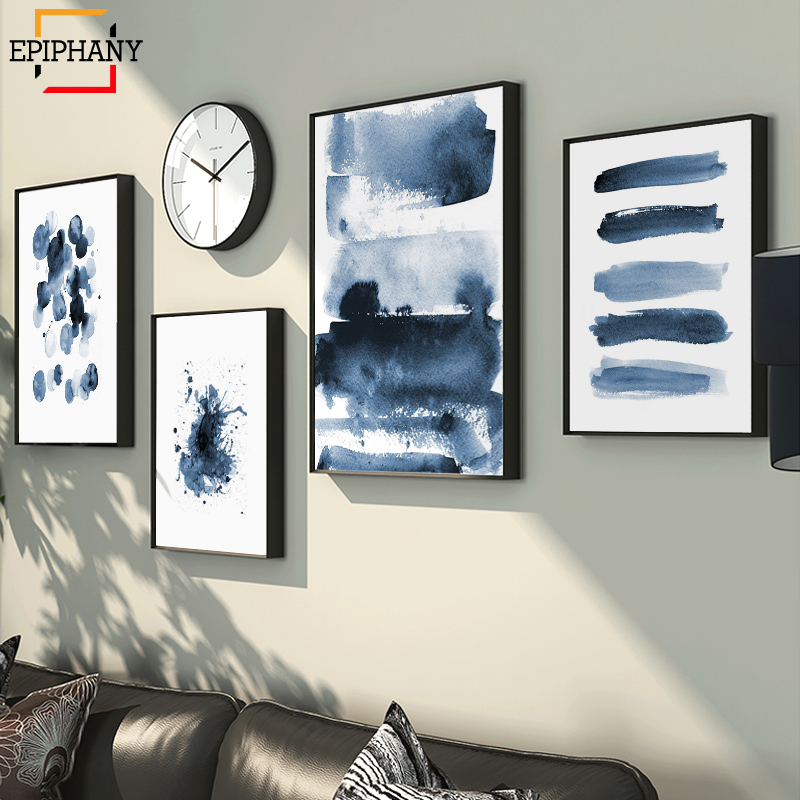 Modern Canvas Painting Blue Abstract Print Large Wall Art Indigo Blue Watercolor Scandinavian Posters Living Room Home Decor
