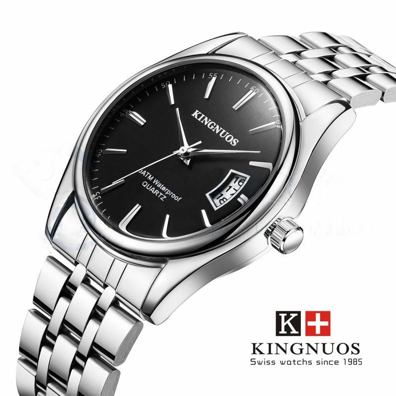 Relogio masculino kingnuos hombres relojes Top marca de lujo de moda de negocios reloj de cuarzo hombres deporte full acero impermeable reloj