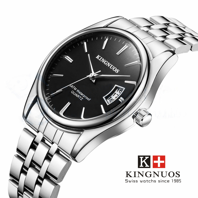 relogio masculino Kingnuos Men Watches Top Brand Luxury Fashion Business Quartz Watch Men Sport Full Steel Waterproof Wristwatch